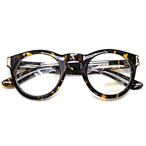 Classic Round Horn Rimmed Eye Glasses Clear Lens Oval Non Prescription Frame (Glossy Leopard 8071, Clear)