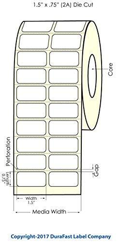 """DuraFast Inkjet Matte Polypropylene Roll-Fed Paper 1.5"""" x 0.75"""" Labels for Epson TM-C3500, TM-C3400, ColorWorks C3500 and ColorWorks C3400, 2150 Labels/Roll on a 4"""" Outer Diameter"""