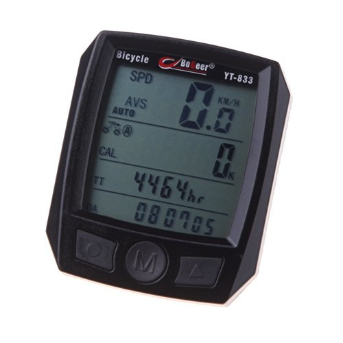 Docooler® BoGeer YT-833 Imported Sensors LCD Backlit Bicycle Speedometer Odometer Computer Rainproof
