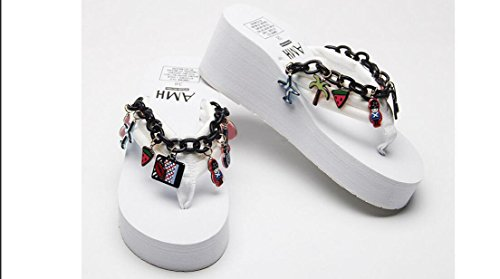 Beauqueen 2017 Summer Taste Chain Pendentif Cartoon Graffiti anti-dérapant Bottom Locations Chaussons Muffled Plage , 35