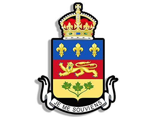 American Vinyl Quebec Coat of Arms Crest Shaped Sticker (Province Canadian Canada)