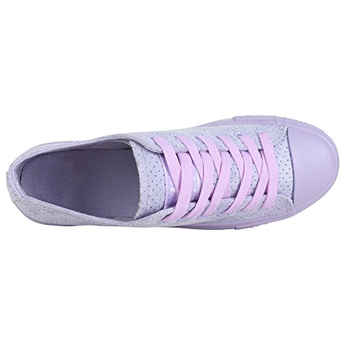 Stiefelparadies Damen Sneaker Low Metallic Turnschuhe Glitzer Freizeit Schuhe Schnürschuhe Flats Sportschuhe Schnürer Flandell Lila Velours