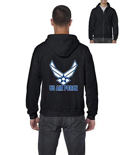 ARTIX US Air Force Blue American Fashion People Couples Gifts Best Friend Gifts Full-Zip Men's Hoodie X-Large Black (Air Force Best Friend)