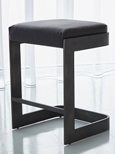 Modern Black Leather Cushioned Counter Stool 25'' | Graphite Gray Minimalist by Global Views (Image #2)