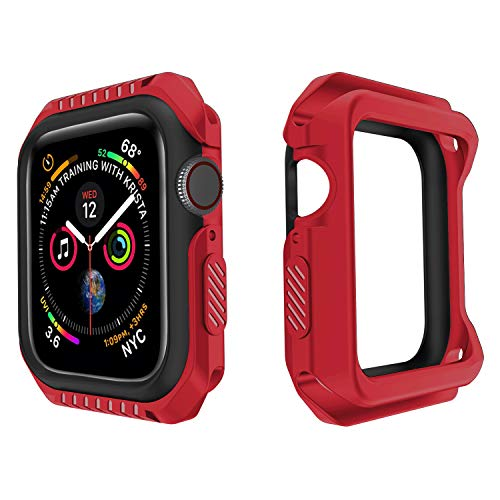 - UPSTONE Compatible with Apple Watch case 44mm Series 4 Bumper Screen Protector Protective Case Shockproof Cover Replacement for iwatch case 44mm (Red Black)
