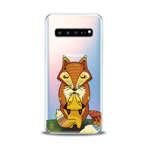 Lex Altern Samsung Galaxy TPU Case A9 A8s A7 A6s A5 C10 C9 Pro C7 C5 Cute Fox Orange Baby Clear Mommy Silicone Cover Print Protective Lightweight Flexible Girls Women Soft Kids Smooth Hugging Kiss ()