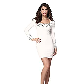 Women's Lady Sexy White Pleated Studded Long Sleeves ...