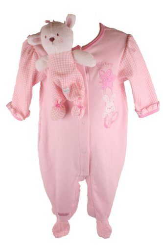 Vitamins Newborn Baby Girls 2 pc Little Bunny Coverall Set with Blankie Bunny