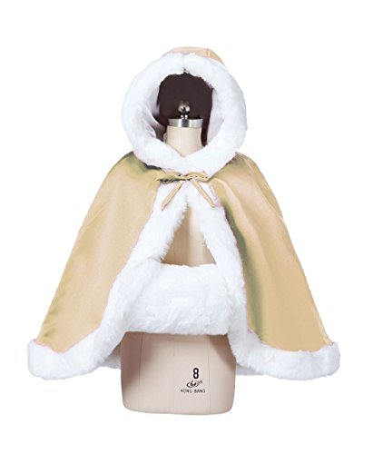 (Wedding Cape Hooded Cloak for Bride Winter Reversible with Fur Trim Free Hand Muff Hip-length Champagne)