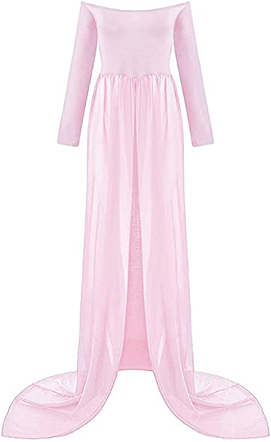 Pregnancy Dress For Photography Split Front Maternity Maxi Dress Off Shoulder Pregnancy Gown For Photo Shoot Pink At Amazon Women S Clothing Store