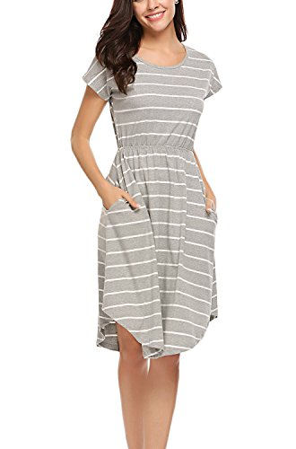 (Halife Women's Round Neck Summer Midi Dress Striped T-Shirt Dress Grey,S)