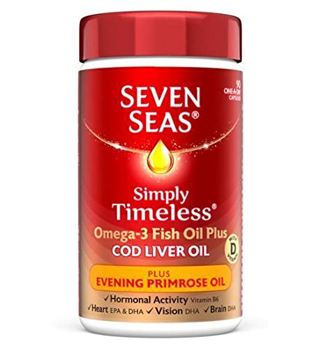 Seven Seas Simply Timeless Cod Liver Oil Plus Evening Primrose Oil - 90 One-a-Day Capsules - 2
