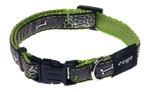 Rogz Fancy Dress Small 3/8-Inch Jellybean Dog Collar, Lime Bone Design, My Pet Supplies