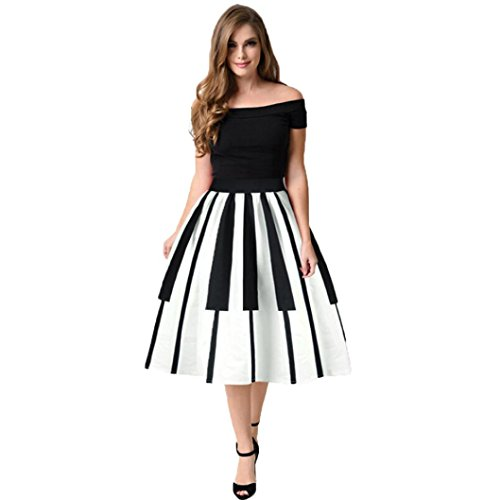 (Clearance!Hot Sale!Women Skirt Daoroka Sexy Ladies Vintage Piano Keys Octopus Squid Pleated Flared A-Line Midi Knee Length Cute Casual Loose Dress Valentine's Day Gift For Girlfriend (M, White))