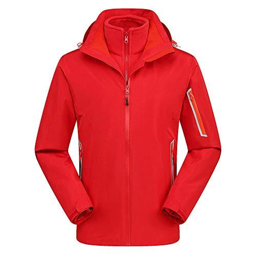 (iFOMO Two-Piece Outdoor Waterproof Rain Jacket 3-in-1 Sheel Jackets Fleece Warm Raincoat for Mens(Red,XL))