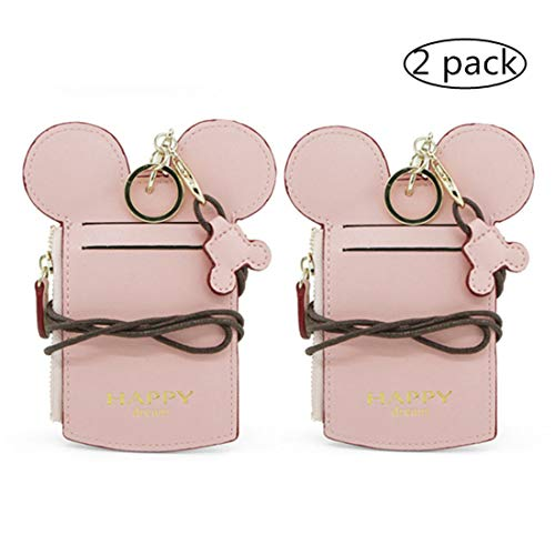 YIEASDA Travel Neck Pouch, Cute Small Fashion Student ID Card Case Holder Coin Wallet Purse for Women/Girls/Children (Pink 2pack) - Key Holder Gift