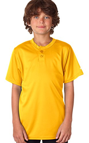 Badger Youth B-Core Comfort Performance Henley T-Shirt, Gold, (Badger T-shirt Henley)