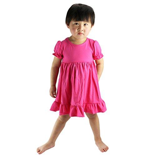Wennikids Little Baby Girls' Short Sleeve Cotton Princess Dress Medium Hot Pink -