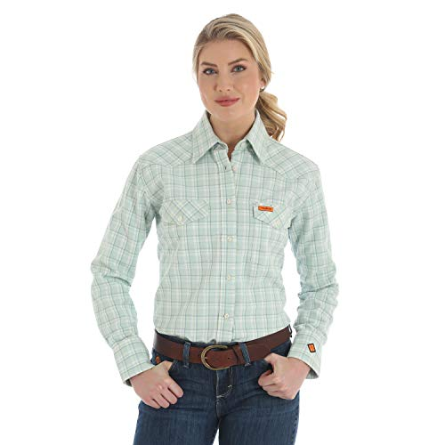 - Wrangler Women's FR Flame Resistant Western Twill Long Sleeve Snap Work Shirt, Turquoise, L