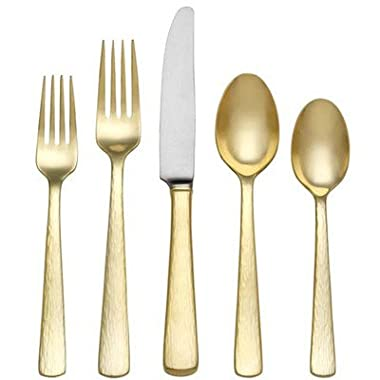 Reed & Barton Echo Gold Finish 18/10 Stainless Flatware 5 Piece Place Setting