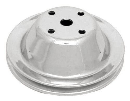 (CSI C9604 Chrome Plated Steel Water Pump Pulley, Single Groove Long Water Pump, Upper, Chevy Small Block 283-350)