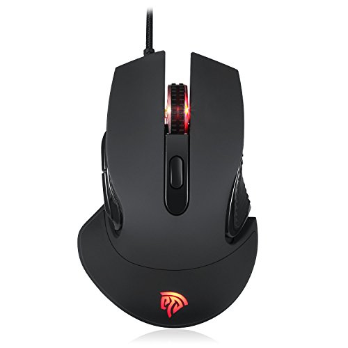 EasySMX Ergonomic Gaming Mouse, Wired Programmable Mouse Gaming with 5000 DPI, RGB Backlight with 5 Programmable Buttons for Gamers/Office Use (Black)