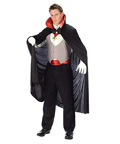 Vampire Couples Costumes (Halloween Costumes for Men - Men's Vampire Costume - Adult Dracula Costume with Cape, Bow tie, Cummerbund Vest, White Gloves and)