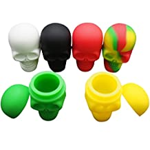 Gentcy Lots Platinum Cured Skull Screw Top NonStick Silicone Container Wax Dab Silicone Jar 3PCS