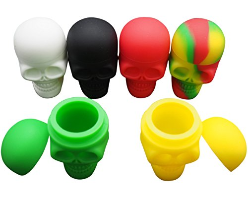 Gentcy 6pcs Skull Silicone Container Wax Silicone Jar Oil Wax Box...