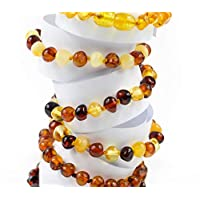 Multicolour natural amber bracelets, for kids and adults. Custom sizes available!