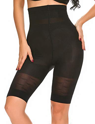 SHINE Women's Breathable Slimming Shapewear Fat Burning Slim Shape Bodysuit & Pants Cincher,Black,Large