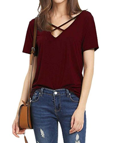Armear Womens Summer Cross Front Open Back Top Cute V Neck Tees T Shirts For Teen Girls (Small, Wine - Outfits Macklemore