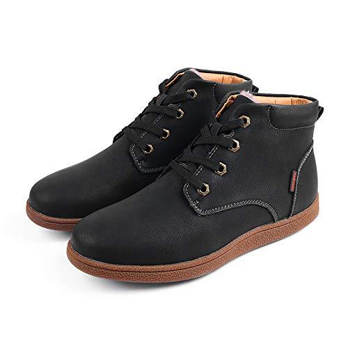 Con Más Nieve De Hombres Negro Fhcgmx Botas El Tamaño Dividido Moda Cuero Tobillo 38~46 La Invierno Cordones Los Para Zapatos 7ZZSvfnW
