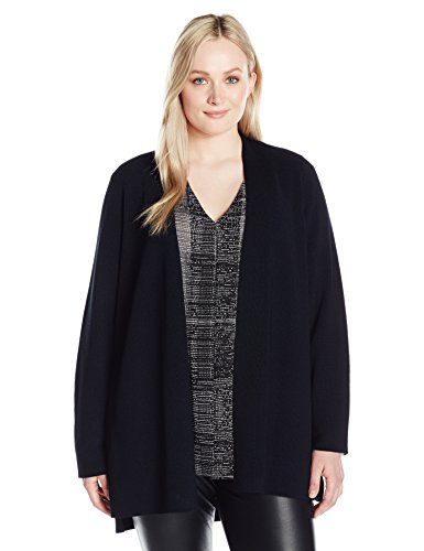 Calvin Klein Women's Plus Size Vertical Stitch Duster, Black, 1X by Calvin Klein