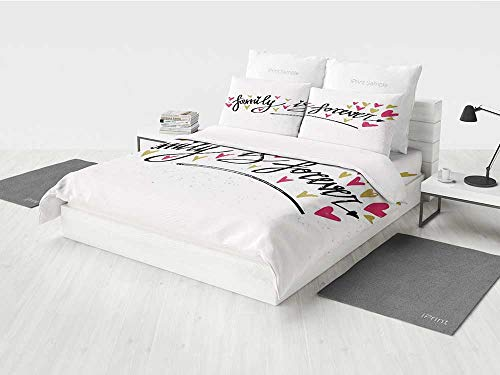KaithLong Family Boys Twin Bedding Sets Inspirational Phrase Family is Forever Hand Writing Cute Hearts Printing Four Pieces of Bedding Set Light Coffee Hot Pink Black -