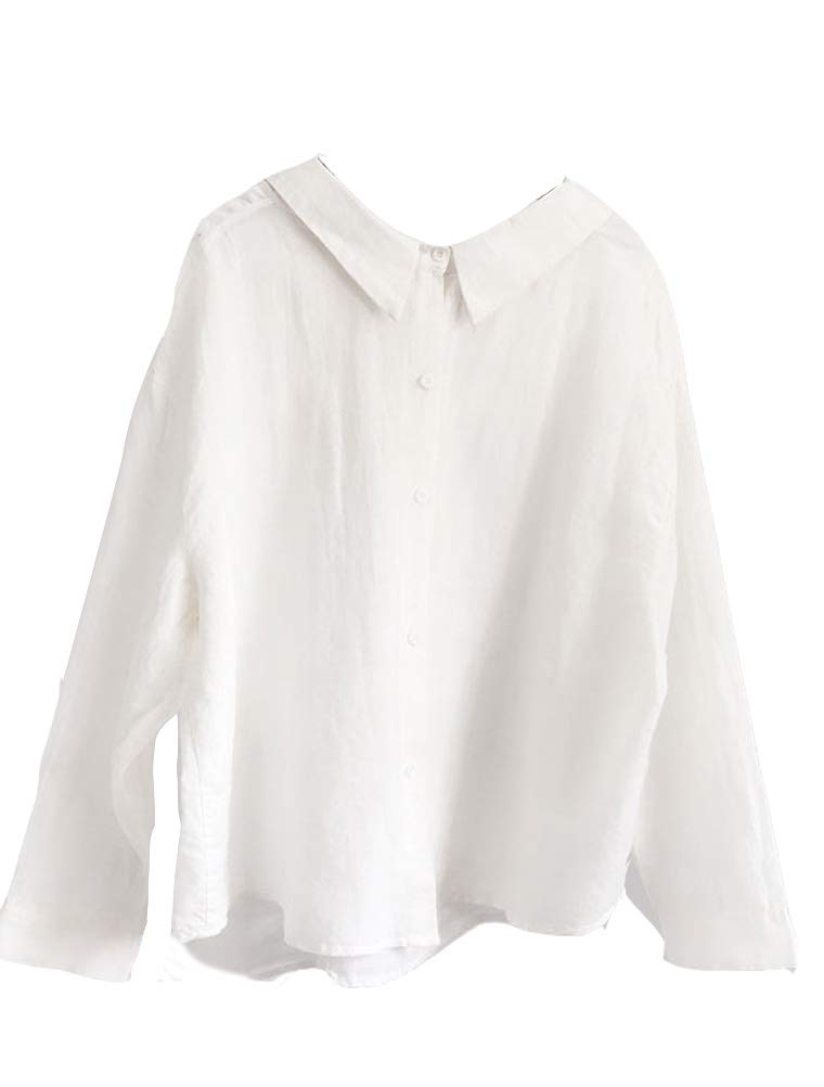 Mordenmiss Women's Linen Button-Down Long Sleeve Blouses Top (L, Long Sleeve-White)