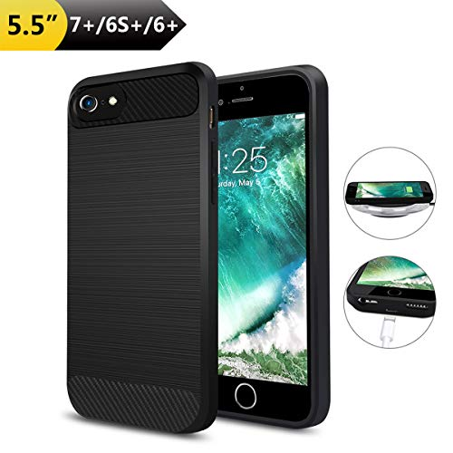 Wireless Charger Charging Case for iPhone 7 Plus/6S Plus/6 Plus,ANGELIOX Qi Wireless Charging Receiver TPU Protective Phone Back Cover,Brushed Surface,with Charging Port(Not Battery-5.5