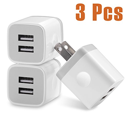 USB Wall Charger USINFLY 3-Pack 2.1A/5V Universal Dual USB Wall Charger Power Adapter Charging Plug Cube for iPhone 8 7 6 6S Plus 5S, Samsung Galaxy S5 S6 S7 Edge, iPad, iPod, LG, HTC, Nokia