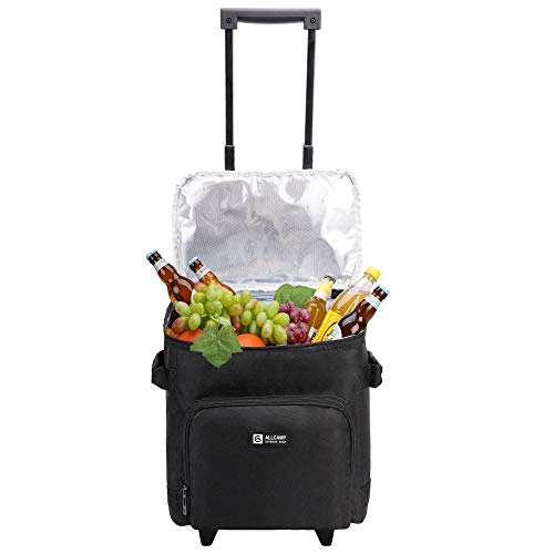 (ALLCAMP Insulated Cooler 6 Bottle Wine Tote with Trolley Picnic Soft Cooler with Removable Liner & Wheels)