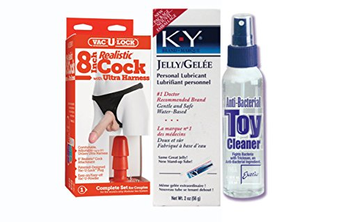 Bundle Package Of V-Lock 8in. Real. Ultra Harn. 2 W/Plug And Anti-bacterial T... by Doc Johnson