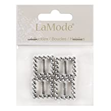 Favorite Findings Buttons, 4 Square Shaped Slides, For Sewing or Craft Projects, All One Shape and Size - Silver
