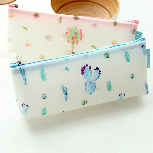 Creative Succulent Plants Jelly Silicone Waterproof Pencil Case Stationery Storage Organizer Bag School Office