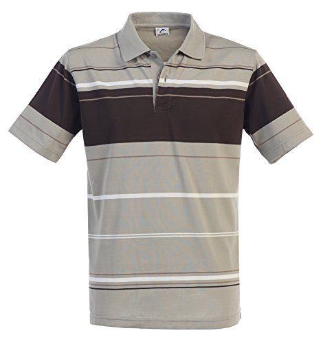 Gioberti Mens Striped Short Sleeve Polo Shirt, Khaki, Size