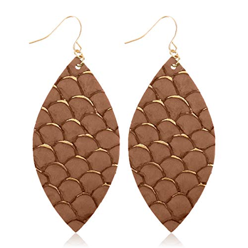 Bohemian Lightweight Genuine Leather Geometric Drop Earrings - Hook Statement Dangles Real Fish Scale Marquise, Lizard Snake Skin Print (Fish Scale Marquise - Brown)