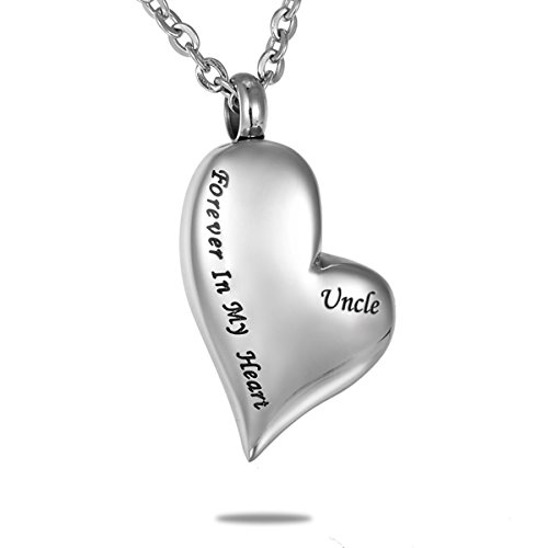 Hooami Forever In My Heart Uncle Cremation Jewelry Memorial Urn Necklace With Personalized Engraving