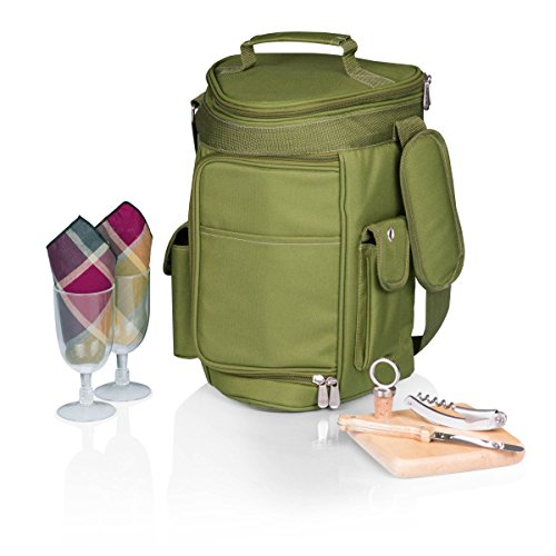 (Picnic Time Meritage Insulated Triangular Wine and Cheese Cooler Tote, Olive)