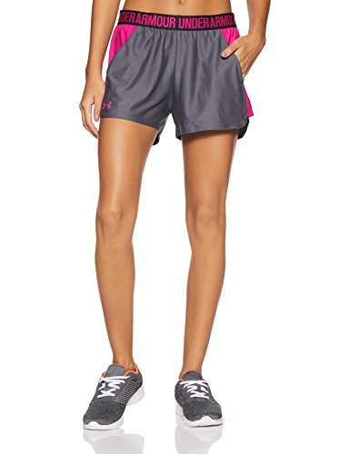 Under Armour Womens Play Up 2.0 Shorts, Rhino Gray /Tropic Pink, Large