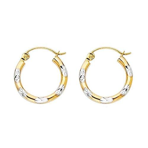 (Women's 14k Two Tone Gold Diamond Cut Hoop Earrings (0.59
