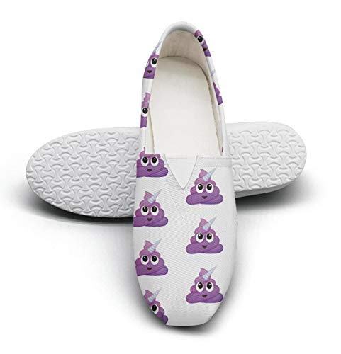 HappyWomen Unicorn Poop Emoji Fairytale Princess Women's Comfort Flat Slip on Shoes Girls Espadrille Flats