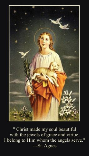 (Saint Agnes of Rome Holy Prayer Card Wallet Size)